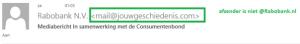 Voorbeeld afzender phishing e-mail